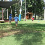 Open play ground with fort and cubby