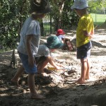 Sand pit in play area